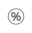 percent sign line icon black on white vector image vector image