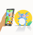 photographing a cute monster on a smartphone vector image vector image