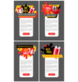 present boxes in shopping basket promo posters vector image vector image