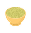 raw buckwheat in wooden bowl isolated groats in vector image