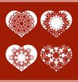 romantic white heart set vector image vector image