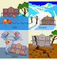 set of natural disasters banners tornado vector image vector image