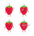 set of strawberry fruit character vector image vector image