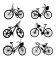 silhouettes bikes on a white isolated vector image vector image