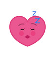 sleeping heart shaped funny emoticon icon vector image