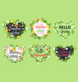 spring greeting icons of heart flowers vector image