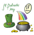 st patricks day hand drawn doodle set with irish vector image