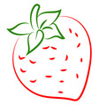 strawberry drawing on white background vector image vector image