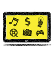 Tablet computer sketch with icon vector image