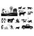 traditional farmer lifestyle at barn stick figure