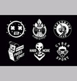 video game emblem set gamer retro style vector image vector image