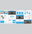 white business slides with blue elements for vector image vector image
