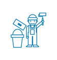 working as a painter linear icon concept working vector image