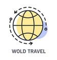 world travel icon with round globe and arrows for vector image