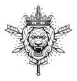 Vintage symbol of a lion head a crown vector image