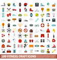 100 fitness craft icons set flat style vector image vector image