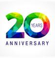 20 anniversary color facet logo vector image vector image