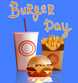 banner burger fries cola fast vector image vector image