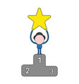 businessman character holding up star on first vector image vector image