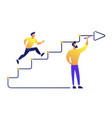 businessman running up drawn stairs with arrow vector image