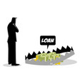 businessman thinking taking loans vector image