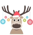 card with cute deer and christmas balls vector image vector image