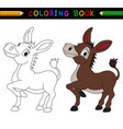 cartoon donkey coloring book vector image vector image