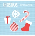 Christmas elements on blue knitted background vector image