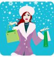 Christmas shopping girl vector image vector image