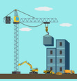 construction site with construction machines vector image vector image