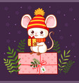 cute mouse stands with a gift in his hand on a vector image vector image