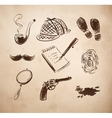 Detective sketch icons set vector image vector image