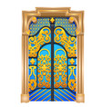 double door in the oriental style isolated on vector image vector image