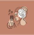 girl recording voice in a recording studio vector image