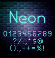 glowing neon alphabet numbers vector image vector image