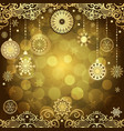 gold christmas frame with vintage gold tree balls vector image vector image