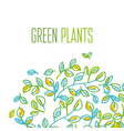 Green leaves design element in hand drawn relaxed