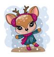 greeting christmas card cute drawn deer vector image vector image