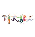 group happy jumping people in flat style vector image