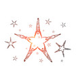 hand drawn star formed lying peoples hands vector image