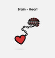 heart and brain connection conceptbrain and heart vector image