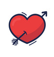 heart with arrow hand drawn in hand drawn cartoon vector image vector image