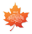 hello autumn lettering on a maple leaf vector image