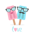 Ice cream couple with lips mustaches and eyeglasse vector image