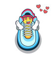 in love cartoon sneaker with rubber toe vector image vector image
