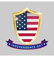 Independence Day golden shield and ribbon with the vector image vector image