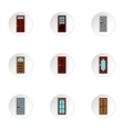 Interior doors icons set flat style vector image vector image
