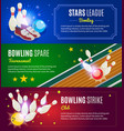 isometric colorful bowling horizontal banners vector image vector image