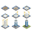 isometric skyscraper construction process vector image