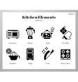 kitchen elements solid pack vector image